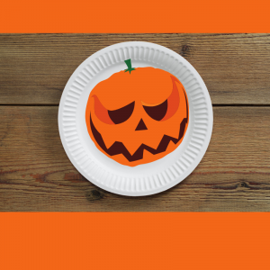 Pumpkin drawings on paper plates, painted pumpkin