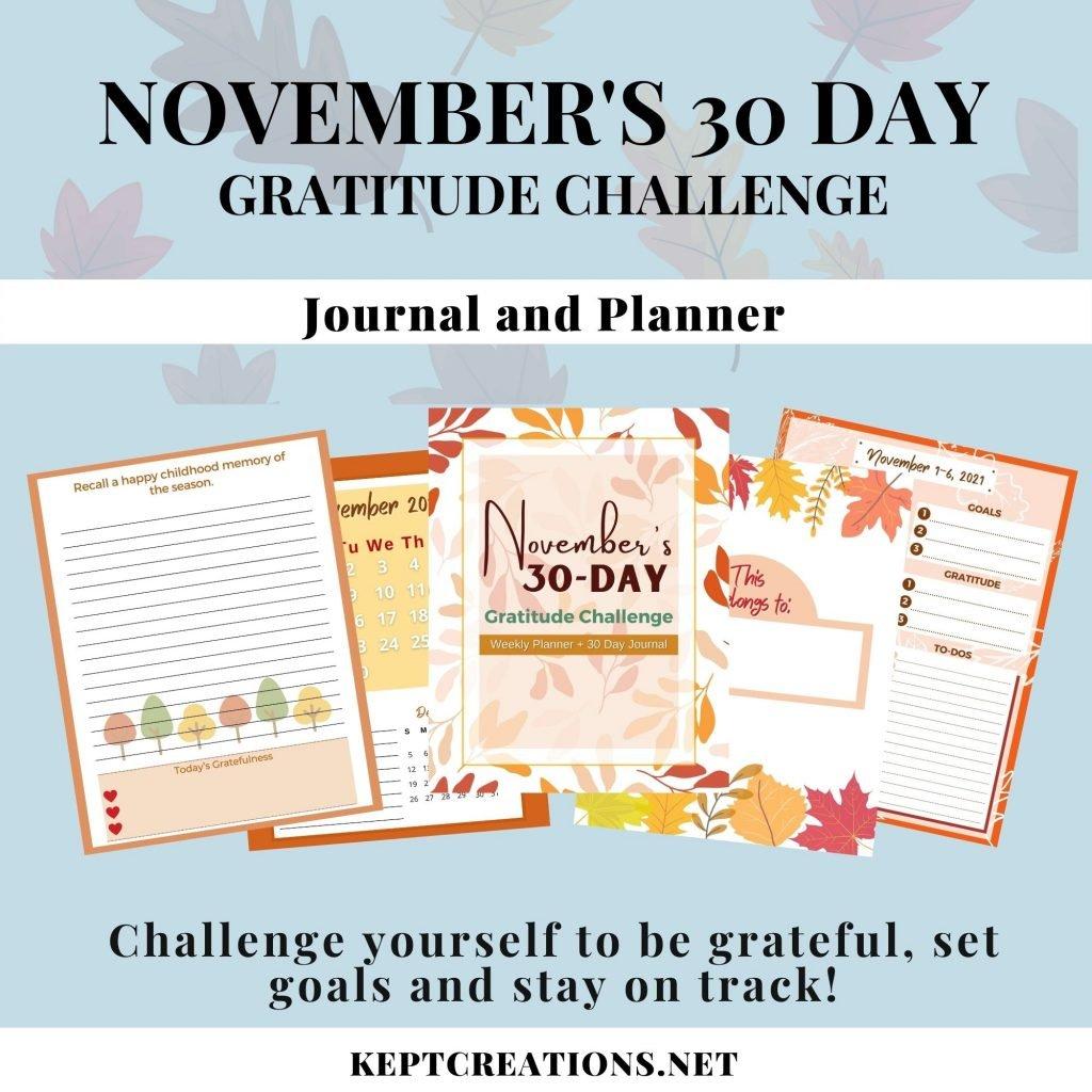 November 30 Day Gratitude Journal Mockup